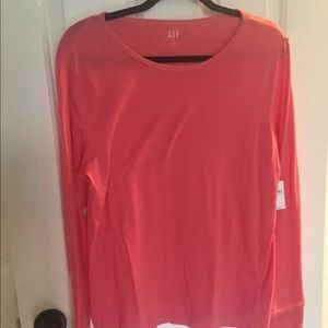 NWT GAP FEATHER WEIGHT LONG SLEEVE TOP XL PINK